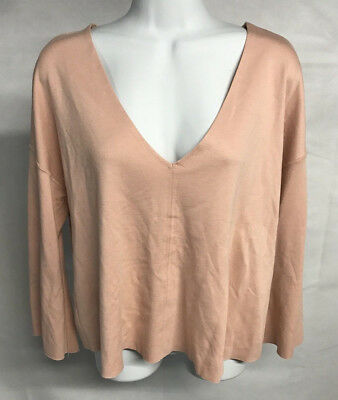 Zara Womens Peach V Neck Shirt Top US Medium