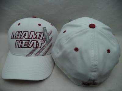 Miami Heat Adidas NBA White Structured Climalite FlexFit Hat Cap LXL