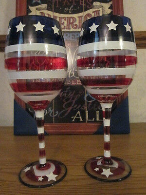 S2 Pier 1 Stars and Stripes 4th of July Flag Patriotic Americana Wine Glasses