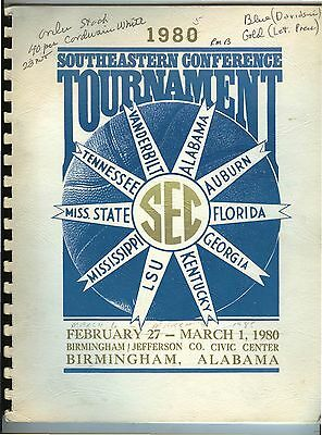 1980 SEC Southeastern Conference Basketball Tournament Birmingham Alabama GUIDE