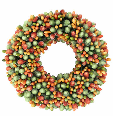 Raz 6-5 Green and Orange Fall AutumnThanksgiving Berry Candle Ring