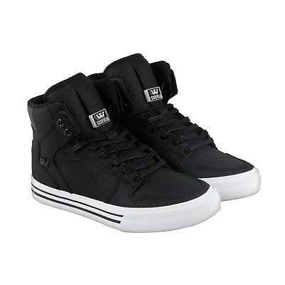 Supra Vaider Mens Black Canvas High Top Lace Up Sneakers Shoes 7