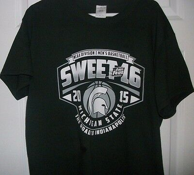 NCAA Michigan State SPARTANS 2015 SWEET 16 Basketball tee shirt Large mens top