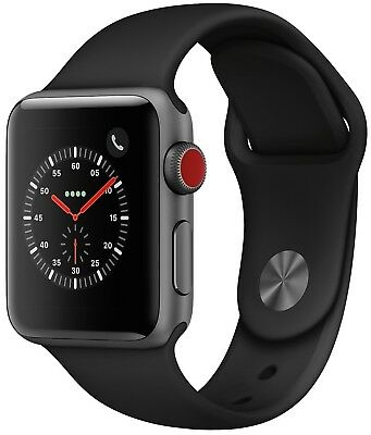 Apple Watch Series 3 38mm Space Gray Case Black Sport Band GPS - Cellular