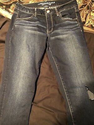 AMERICAN EAGLE OUTFITTERS GIRLS JEANS SUPER STRETCH SIZE 12 BLUE JEAN