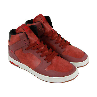 Supra Vaider 2-0 Mens Red Leather High Top Lace Up Sneakers Shoes
