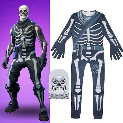 Adult Kids Fortnite Skull Trooper Cosplay Costume Halloween Xmas Jumpsuit Outfit