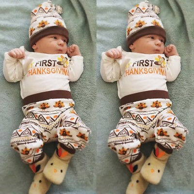 US Thanksgiving Baby Boy Girl Romper Bodysuit Pants 3Pcs Clothes Kids Outfit Set
