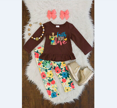 USA Toddler Baby Girl Thanksgiving Clothes Tops Shirts Floral Long Pants Outfits