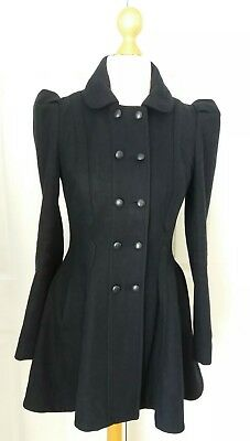 Ladies Navy Double Breasted Fitted Wool Coat Top Shop Size 10 Kate Middleton
