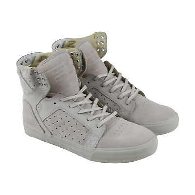 Supra Skytop Mens Gray Suede High Top Lace Up Sneakers Shoes