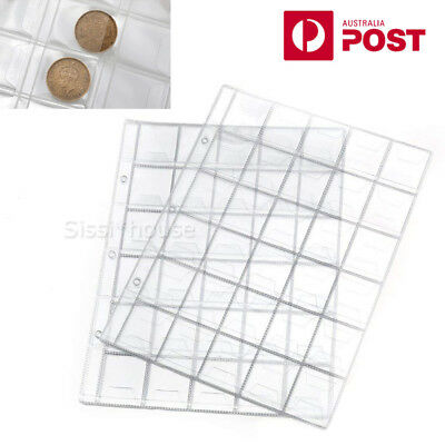 10 x 30 Pockets Coin Holders Folder Pages Sheets For Collection Album Storage A