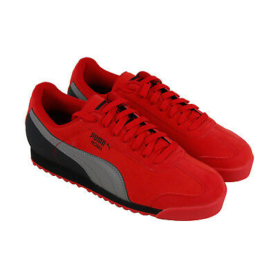Puma Roma Retro Mens Red Nubuck Lace Up Sneakers Shoes