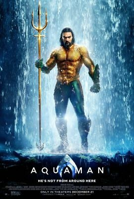 Aquaman - original DS movie poster 27x40 DS Style B - 2018 DC Momoa Waterfall