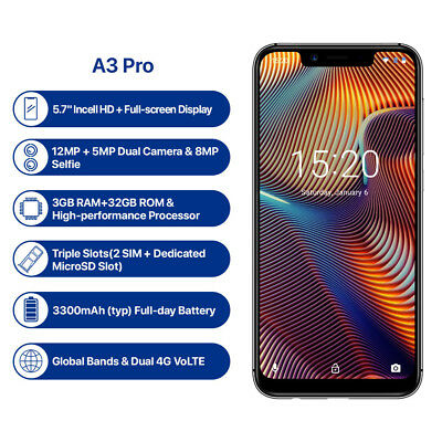UMIDIGI A3 Pro Global Band 5-7inch 3-32GB Android 8-1 Face Unlock 4G Smartphone
