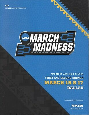 2018 NCAA Basketball Tournament March Madness First Round Program Dallas