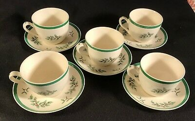 6 Spode Christmas Tree Cups - Saucers Royal Worcester England