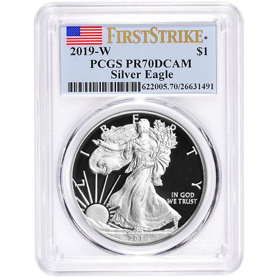 2019-W Proof 1 American Silver Eagle PCGS PR70DCAM First Strike Flag Label