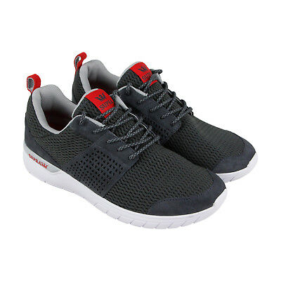 Supra Scissor Mens Gray Mesh Athletic Lace Up Running Shoes