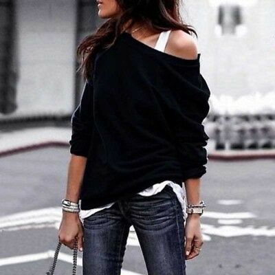 Womens Pullover Long Sleeve Batwing Cotton Blouse Sweater Jumper Tops T-Shirt