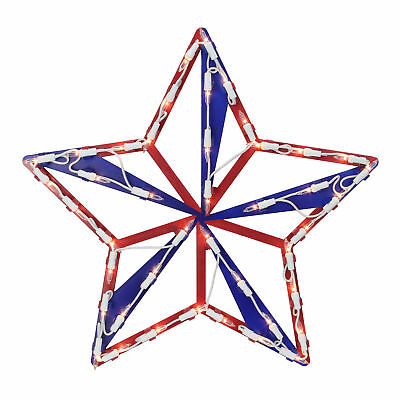 15 Lighted Red White and Blue 4th of July Star Window Silhouette Decoration