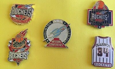 HOUSTON ROCKETS 5 PIN SET-HTF-NO OFFERS ACCEPTED-SHIP USA ONLY-BIN-FREE SHIPPING