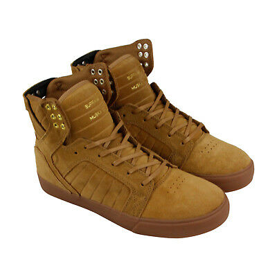 Supra Skytop Mens Tan Suede High Top Lace Up Sneakers Shoes