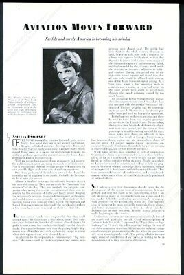 1931 Amelia Earhart photo thoughts on aviation vintage print article