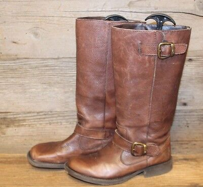 STEVE MADDEN FRENCCHH WOMENS BROWN LEATHER MID CALF BIKER BOOTS SZ 7M