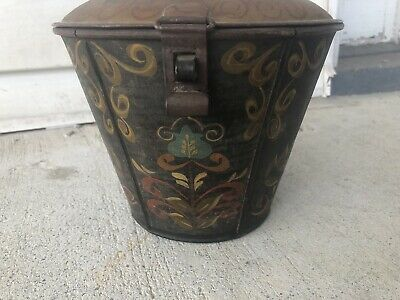 TOLE PAINTED Collar Box  Signed MOXEY Bunt Cake Pan Great Paint