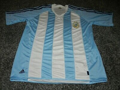 2006 ADIDAS FIFA WORLD CUP GERMANY STRIPED ARGENTINA SOCCER JERSEY In SIZE LARGE