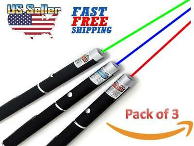 Pack of 3 Laser Pointer Pen Green Blue Violet Red Light Beam Powerful 5MW