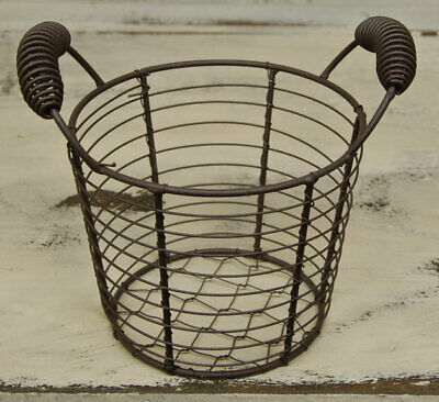 SMALL RUSTIC CHICKEN WIRE EGG BASKET PRIMITIVE COLONIAL AMERICANA SWEET