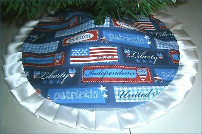 Fourth of July Tabletop Tree Skirt - 24 -  Blue Patriotic Words  Custom Made