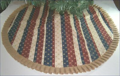 Fourth of July Tree Skirt - 47 -  Stripes Gold Stars - Burlap Ruffle
