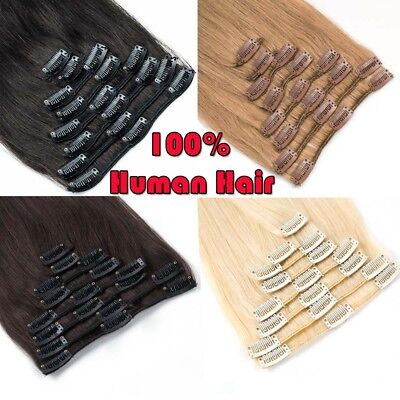 CLEARANCE Clip in Human Hair Extensions Full Head 100 Real Remy Hair Long Soft