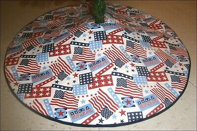 Fourth of July Tabletop Tree Skirt - 21 - Flags - Stars  Custom Made