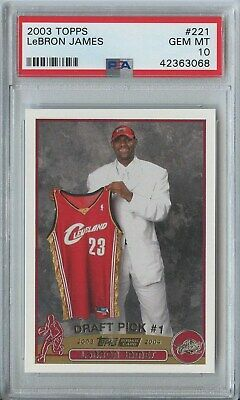Lebron James 2003 04 topps basketball 221 cleveland cavaliers rc rookie PSA 10
