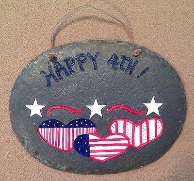 Happy 4th Fourth of July Painted Slate Plaque Patriotic Door Hanging 9x7H