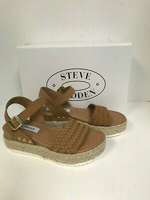 Steve Madden Womens Claus Cognac Leather Braided Wedge Sandal Size 11M