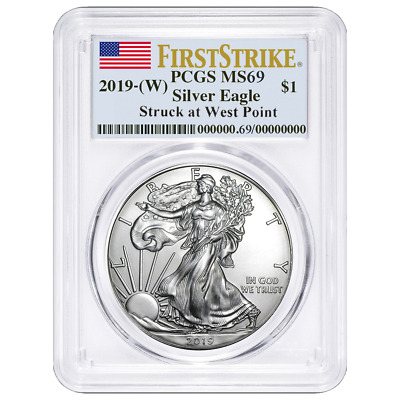 2019 W 1 American Silver Eagle PCGS MS69 First Strike Flag Label