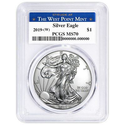 2019 W 1 American Silver Eagle PCGS MS70 West Point Label