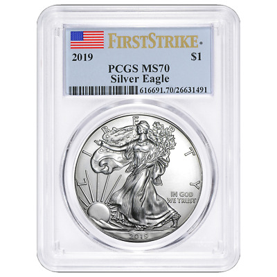 2019 1 American Silver Eagle PCGS MS70 First Strike Flag Label