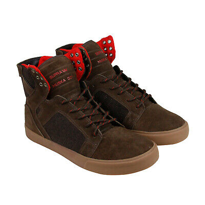 Supra Skytop Mens Brown Suede High Top Lace Up Sneakers Shoes