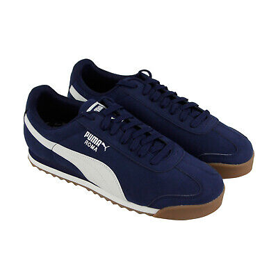 Puma Roma Smooth Nubuck 36845502 Mens Blue Classic Low Top Sneakers Shoes