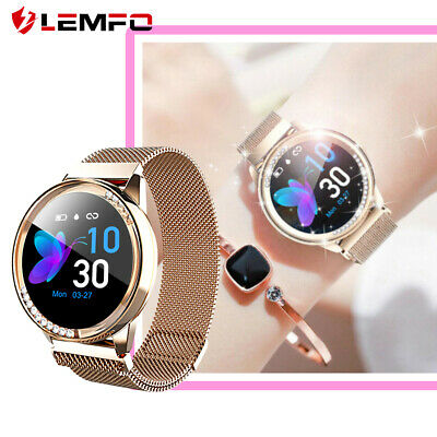 lemfo Women Gold Smart Watch Waterproof Heart Rate Pedometer For Android iOS