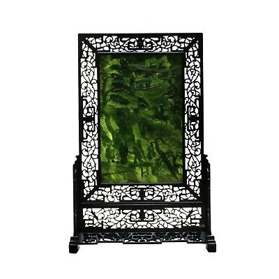 Vintage Spinach Green Stone Scenery Carving Table Top Wall Panel Display cs5089