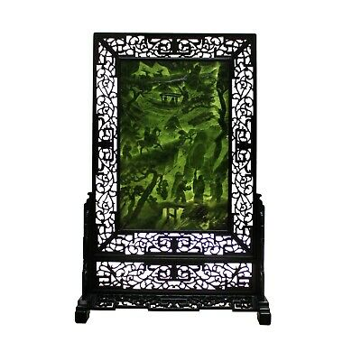 Spinach Green Stone Scenery Carving Table Top Wall Panel Display cs5090