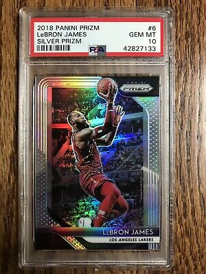 2018 PRIZM LEBRON JAMES SILVER PRIZM 6 PSA 10 GEM MINT PRIZMS LAKERS