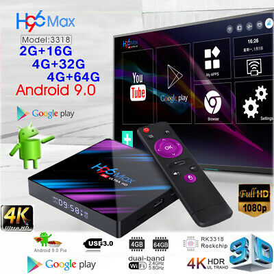 2019 H96 Android 9-0 Smart TV Box 64G Quad Core 4K HD 5-8GHz WiFi Media Player
